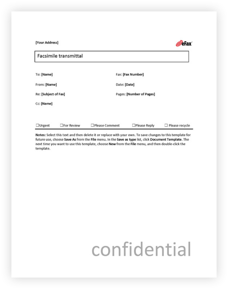Fax cover page two